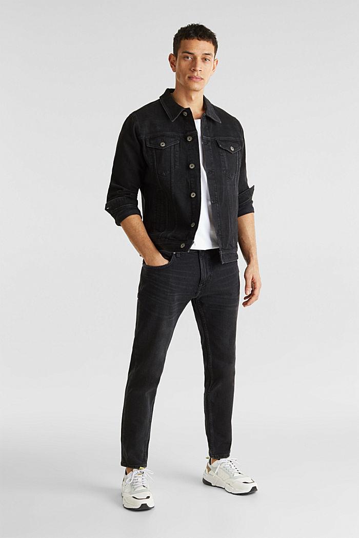 Jean jacket with a print, BLACK MEDIUM WASHED, detail image number 3