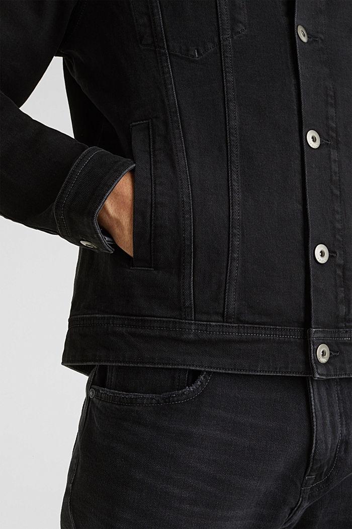 Jean jacket with a print, BLACK MEDIUM WASHED, detail image number 6