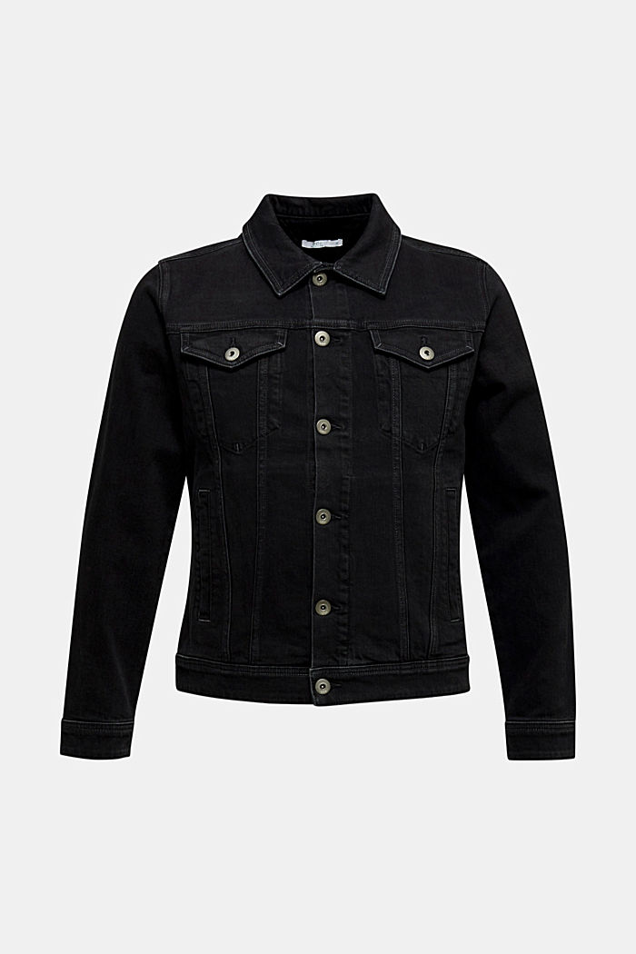 Jean jacket with a print, BLACK MEDIUM WASHED, detail image number 7