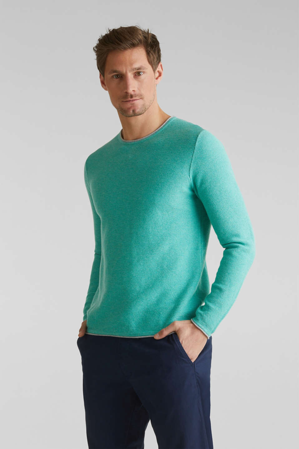 Textured jumper made of 100% cotton, LIGHT AQUA GREEN 5, detail image number 0