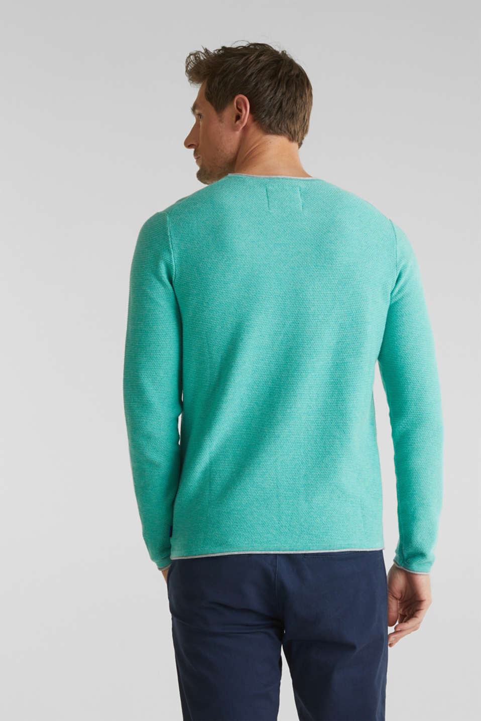 Textured jumper made of 100% cotton, LIGHT AQUA GREEN 5, detail image number 3