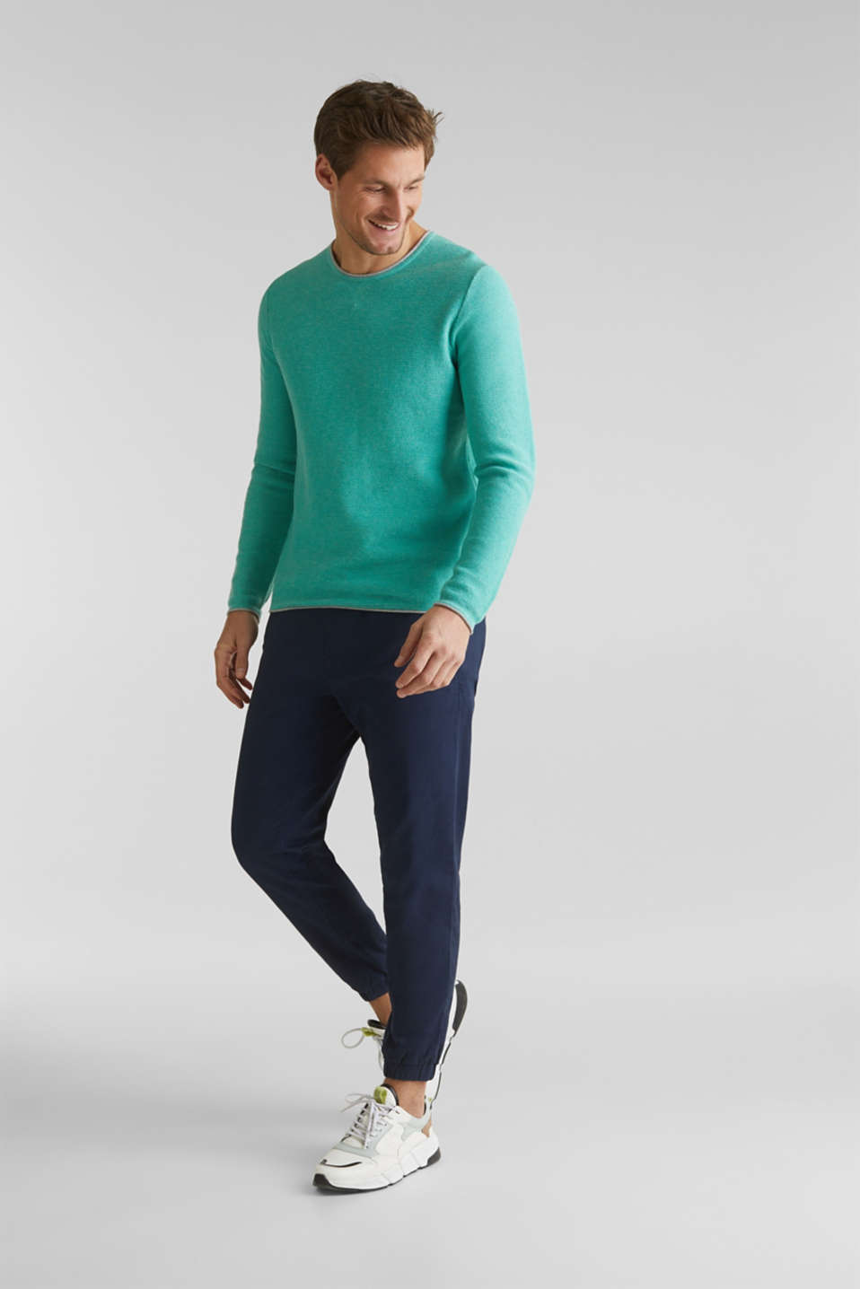 Textured jumper made of 100% cotton, LIGHT AQUA GREEN 5, detail image number 7