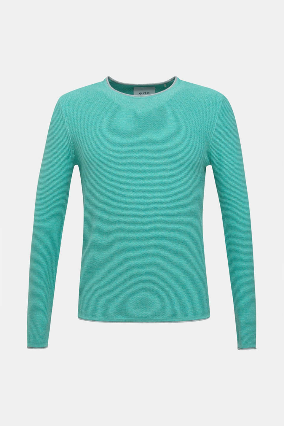 Textured jumper made of 100% cotton, LIGHT AQUA GREEN 5, detail image number 6