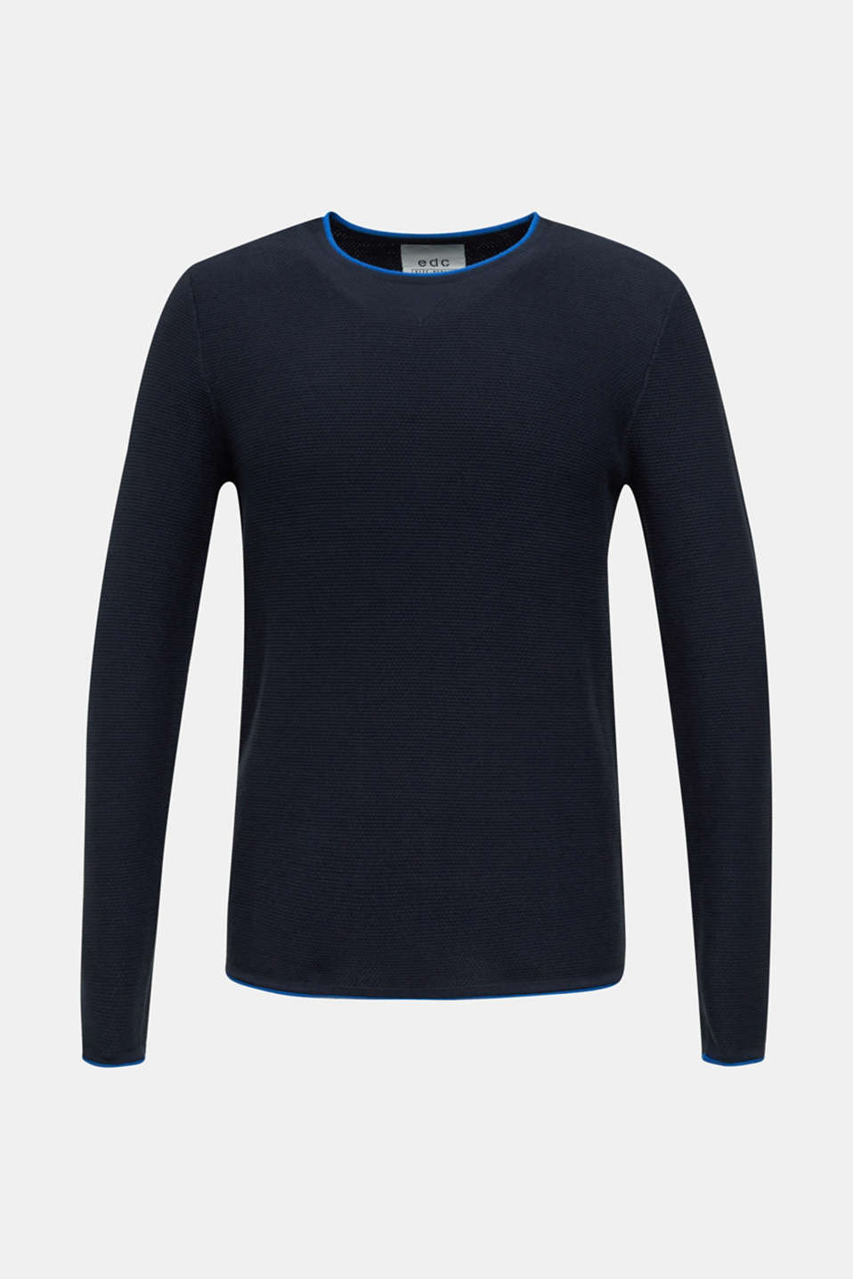 Textured jumper made of 100% cotton, NAVY, detail image number 5