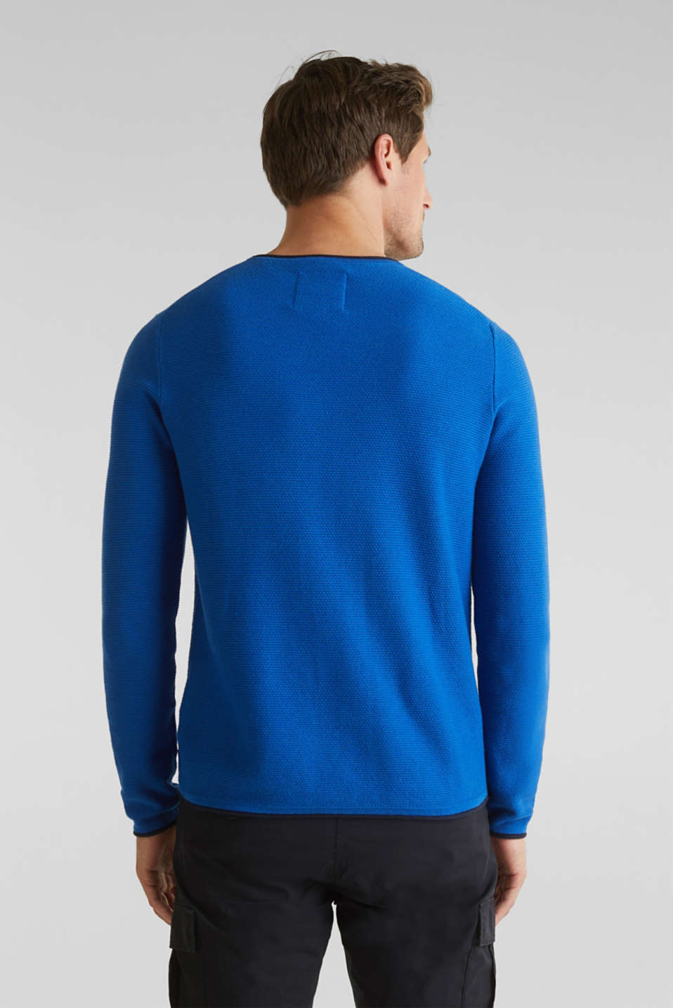 Textured jumper made of 100% cotton, BLUE 5, detail image number 3