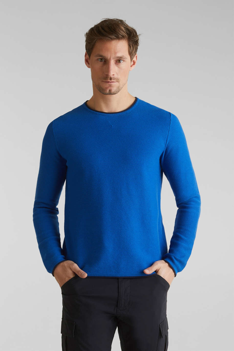 Textured jumper made of 100% cotton, BLUE 5, detail image number 8