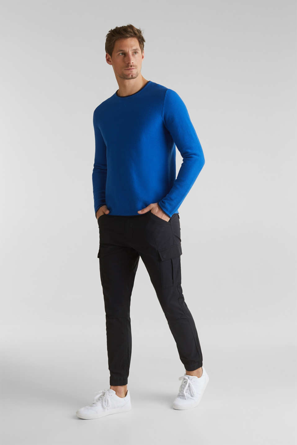Textured jumper made of 100% cotton, BLUE 5, detail image number 7