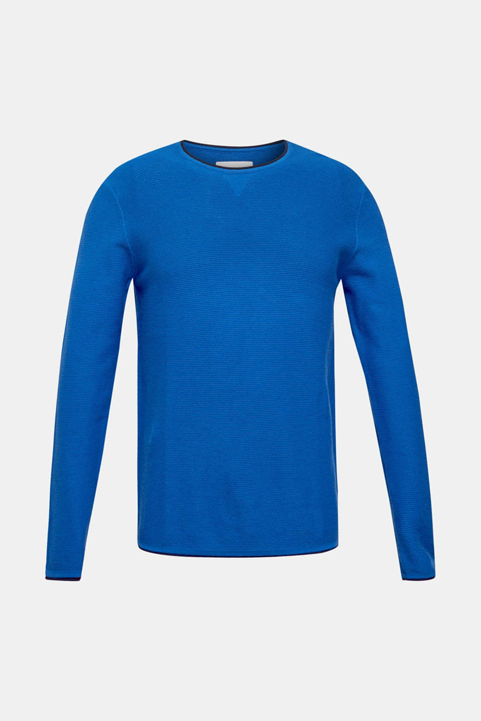 Textured jumper made of 100% cotton, BLUE 5, detail image number 6