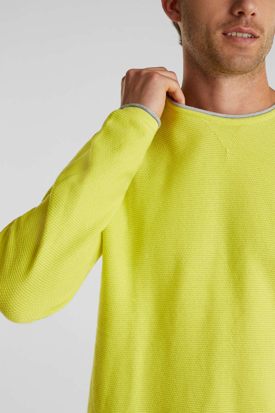 Textured jumper made of 100% cotton, BRIGHT YELLOW, detail image number 2
