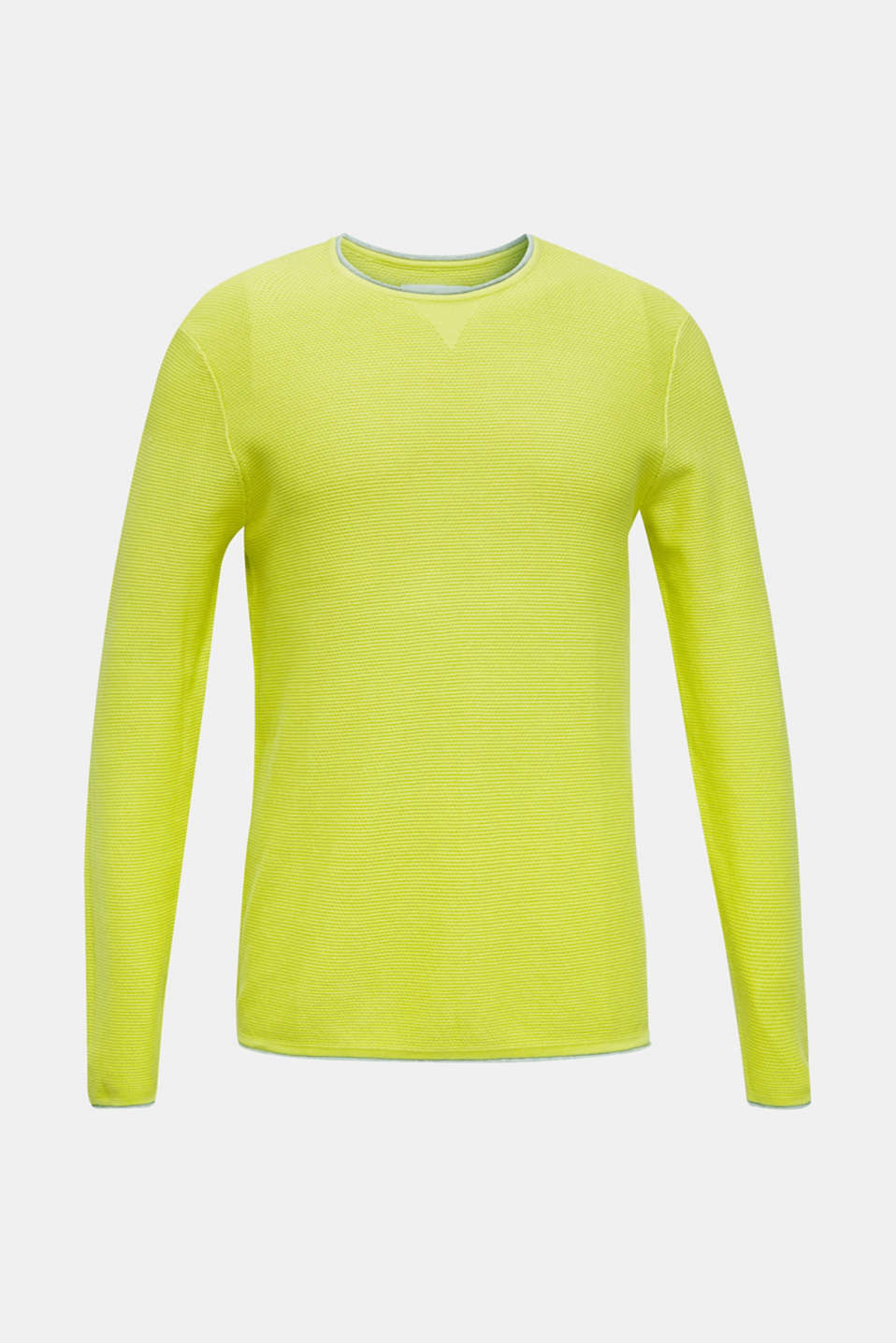 Textured jumper made of 100% cotton, BRIGHT YELLOW, detail image number 7