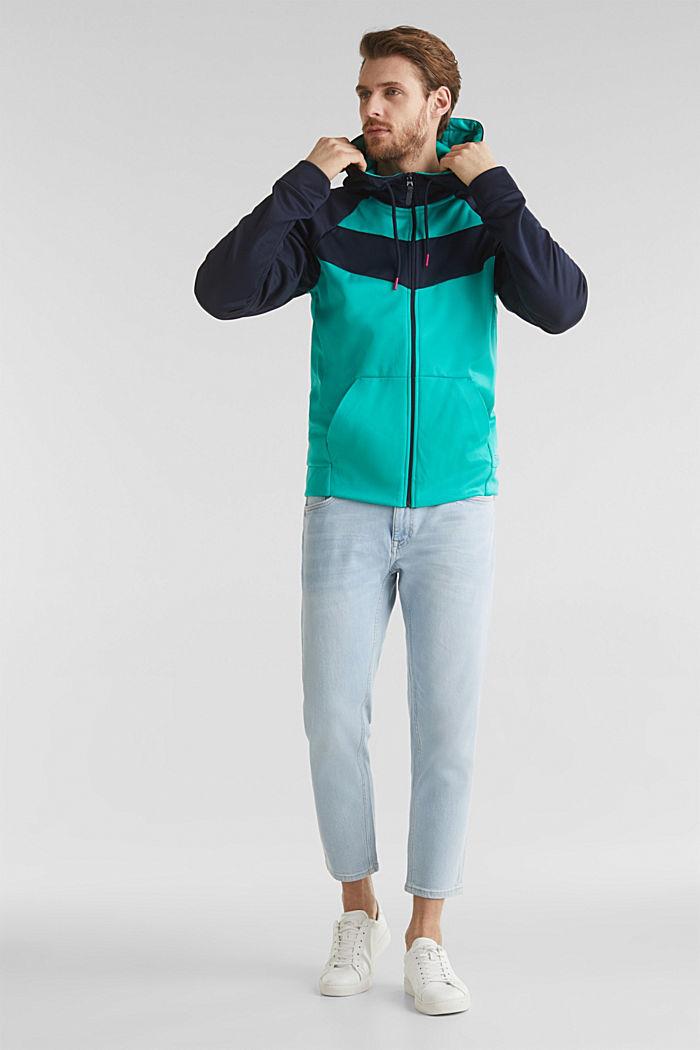 Colour block sweatshirt cardigan, AQUA GREEN, detail image number 1
