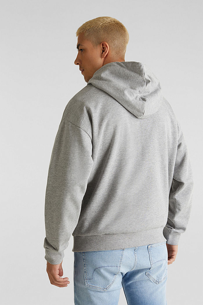 Sweatshirt hoodie with print on the front, organic cotton, MEDIUM GREY, detail image number 3