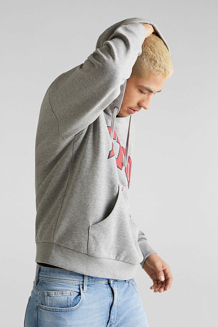 Sweatshirt hoodie with print on the front, organic cotton, MEDIUM GREY, detail image number 2