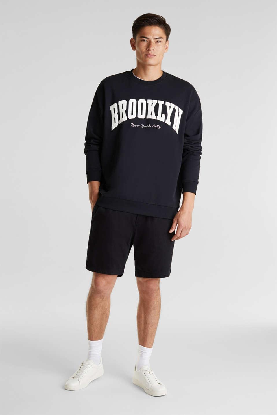 Print sweatshirt, 100% cotton, BLACK, detail image number 1