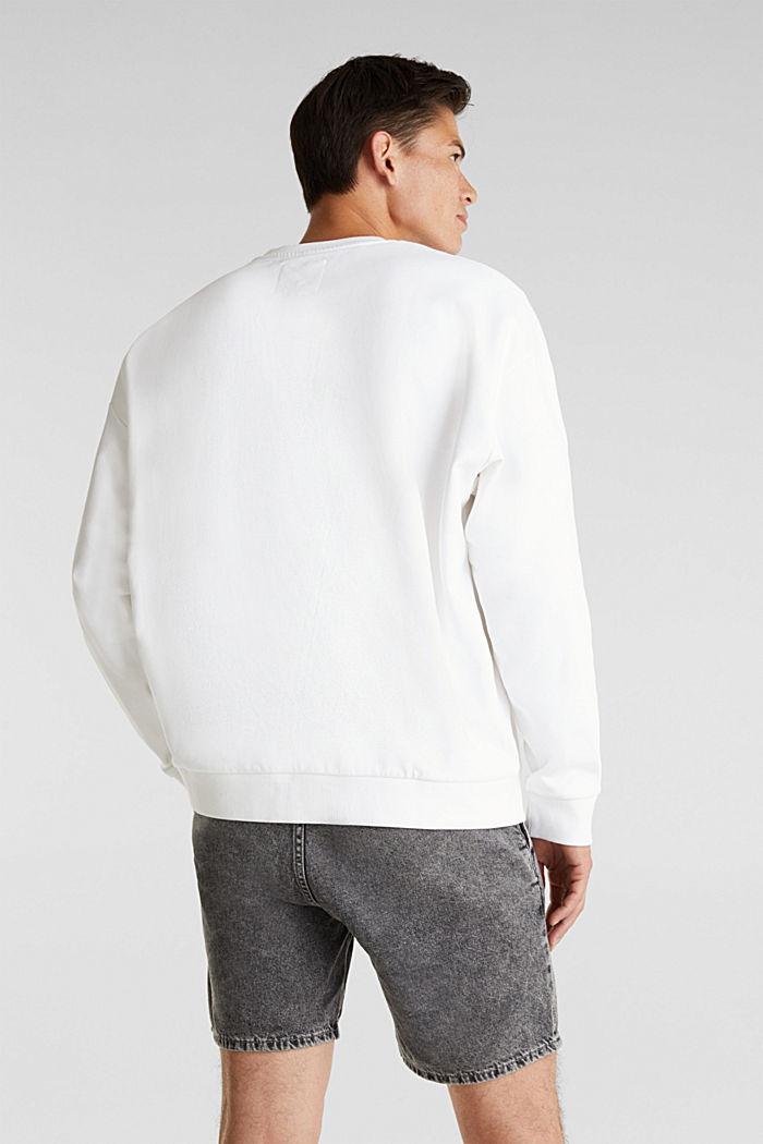 Print sweatshirt, 100% cotton, WHITE, detail image number 3