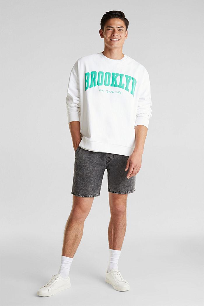 Print sweatshirt, 100% cotton, WHITE, detail image number 1