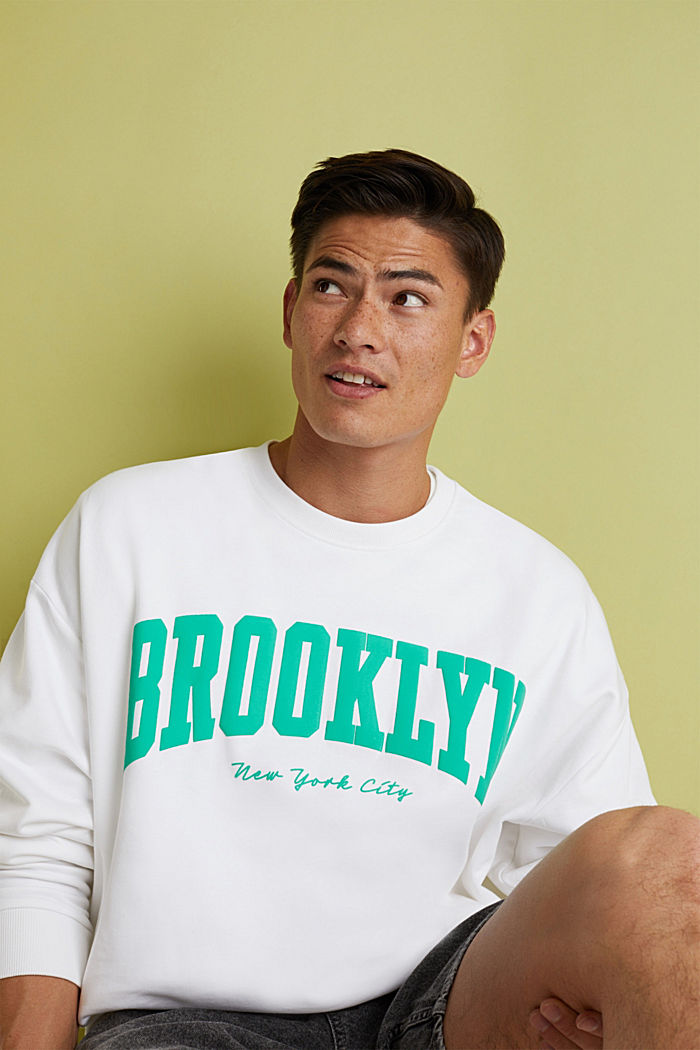 Print-Sweatshirt, 100% Baumwolle, WHITE, detail image number 5