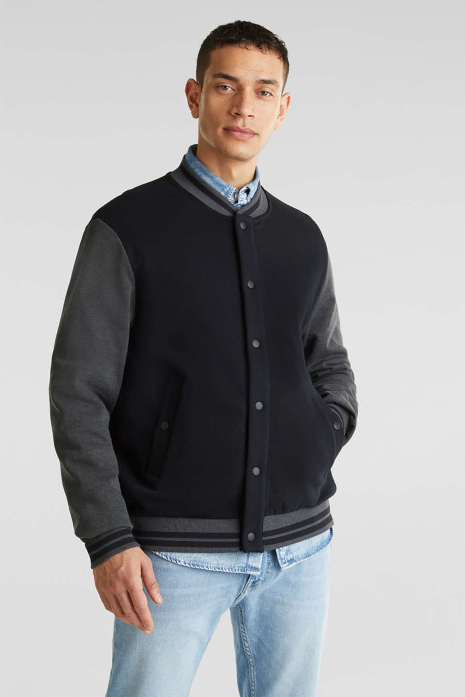 College jacket with contrasting-coloured sleeves, BLACK, detail image number 0