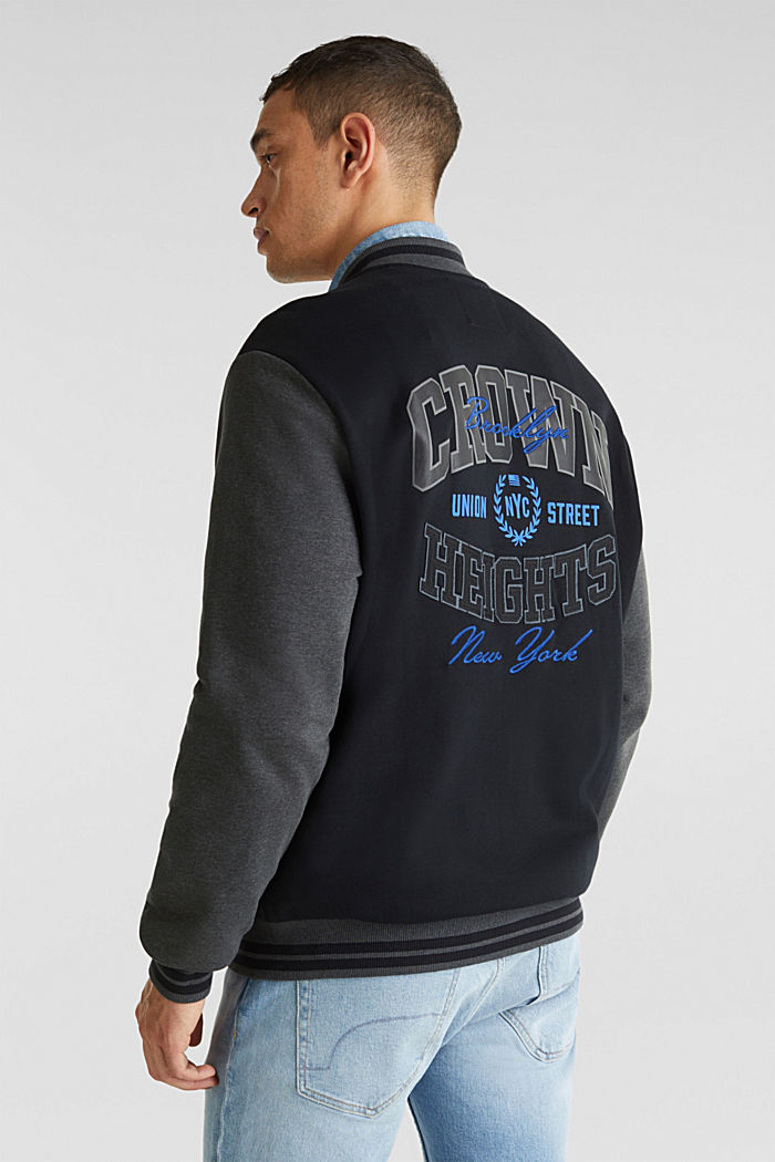 College jacket with contrasting-coloured sleeves, BLACK, detail image number 3