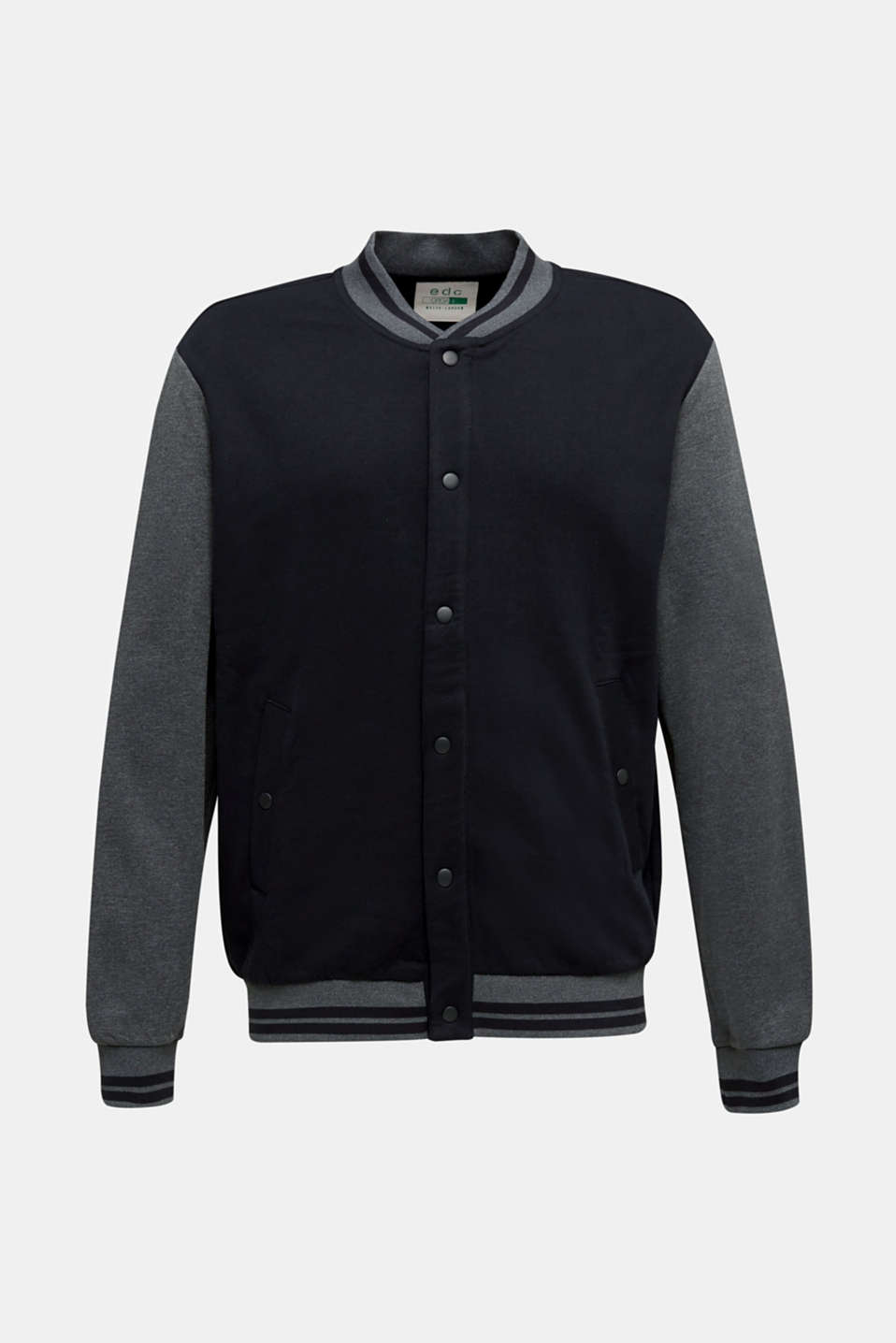 College jacket with contrasting-coloured sleeves, BLACK, detail image number 6