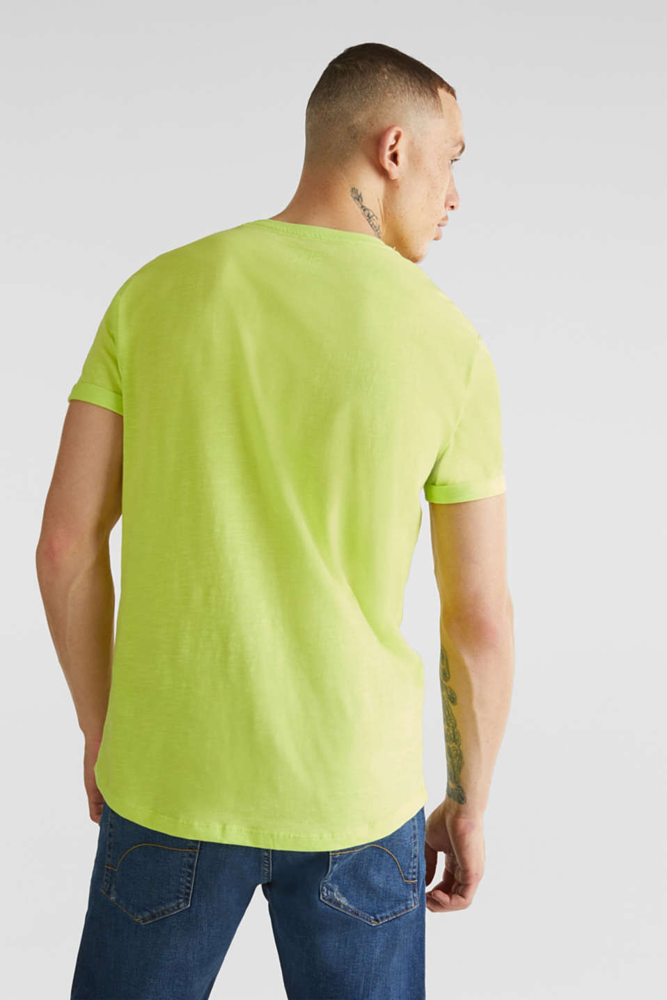 Slub jersey T-shirt in 100% cotton, BRIGHT YELLOW, detail image number 3