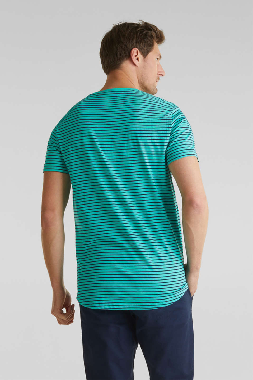 Jersey T-shirt with stripes, 100% cotton, LIGHT AQUA GREEN 3, detail image number 2