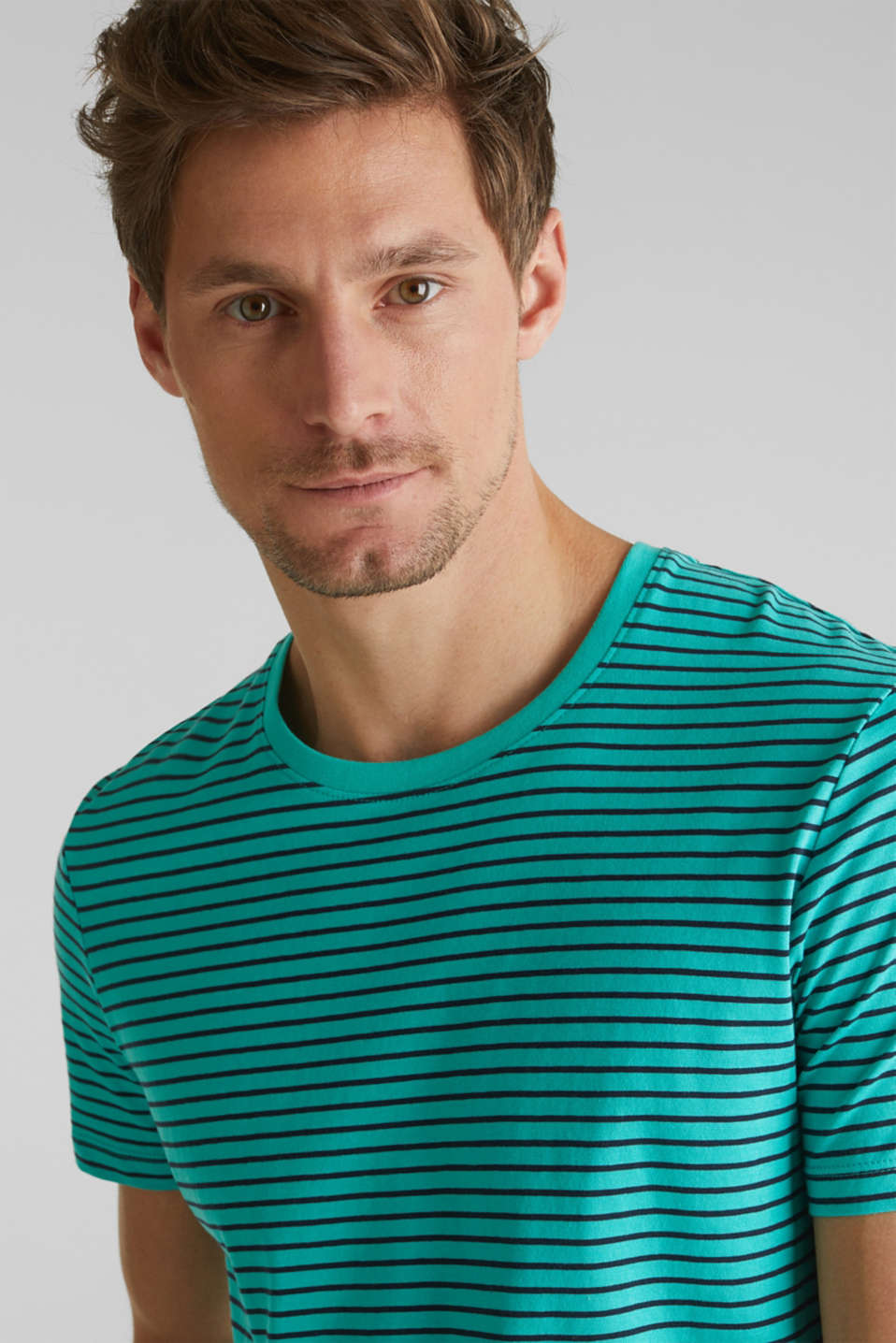 Jersey T-shirt with stripes, 100% cotton, LIGHT AQUA GREEN 3, detail image number 0