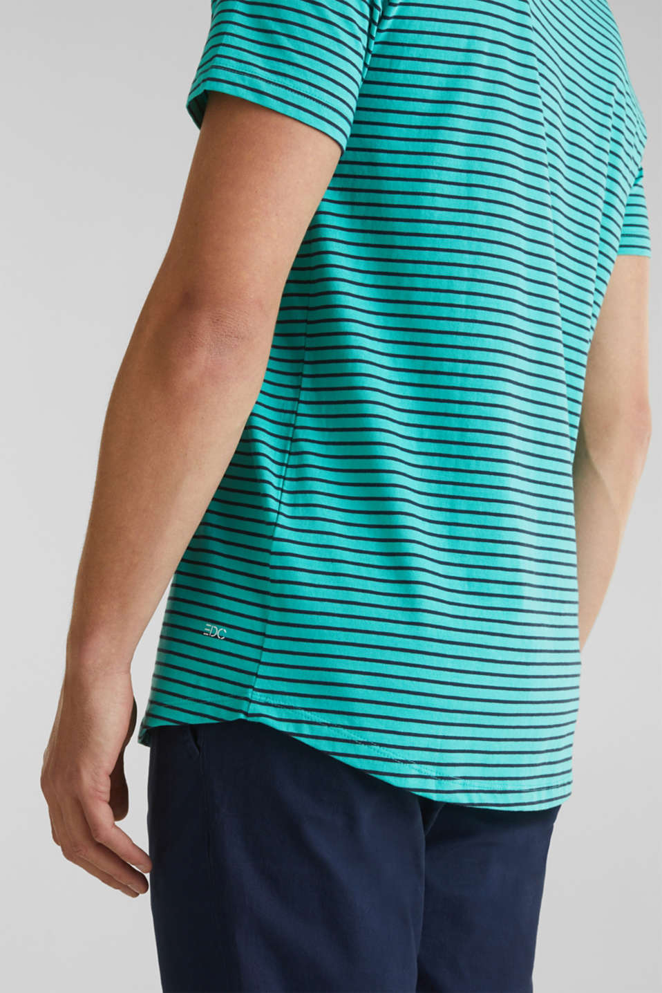 Jersey T-shirt with stripes, 100% cotton, LIGHT AQUA GREEN 3, detail image number 4