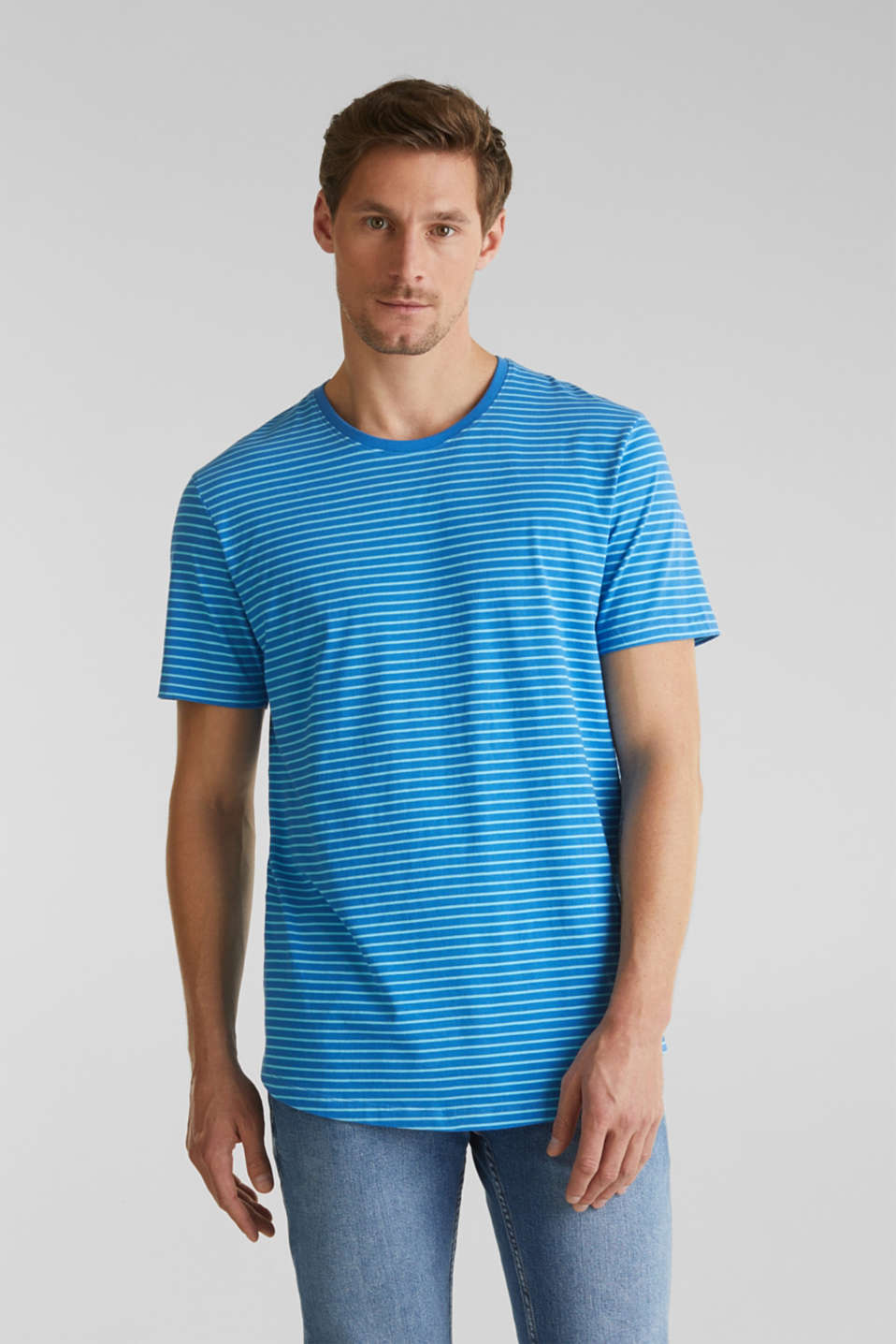 Jersey T-shirt with stripes, 100% cotton, BLUE 3, detail image number 0
