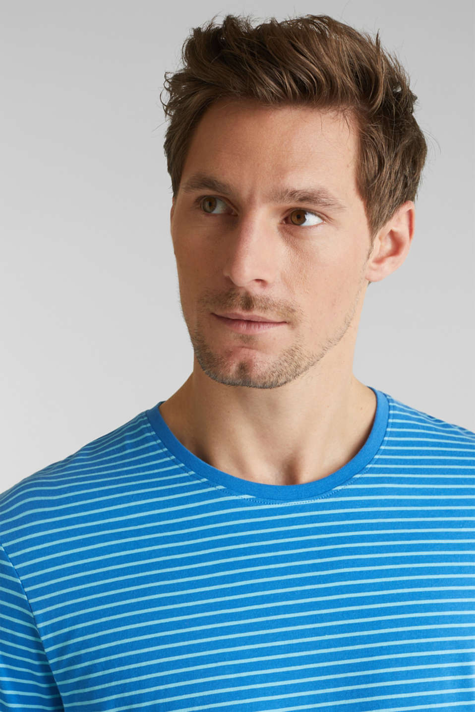 Jersey T-shirt with stripes, 100% cotton, BLUE 3, detail image number 1