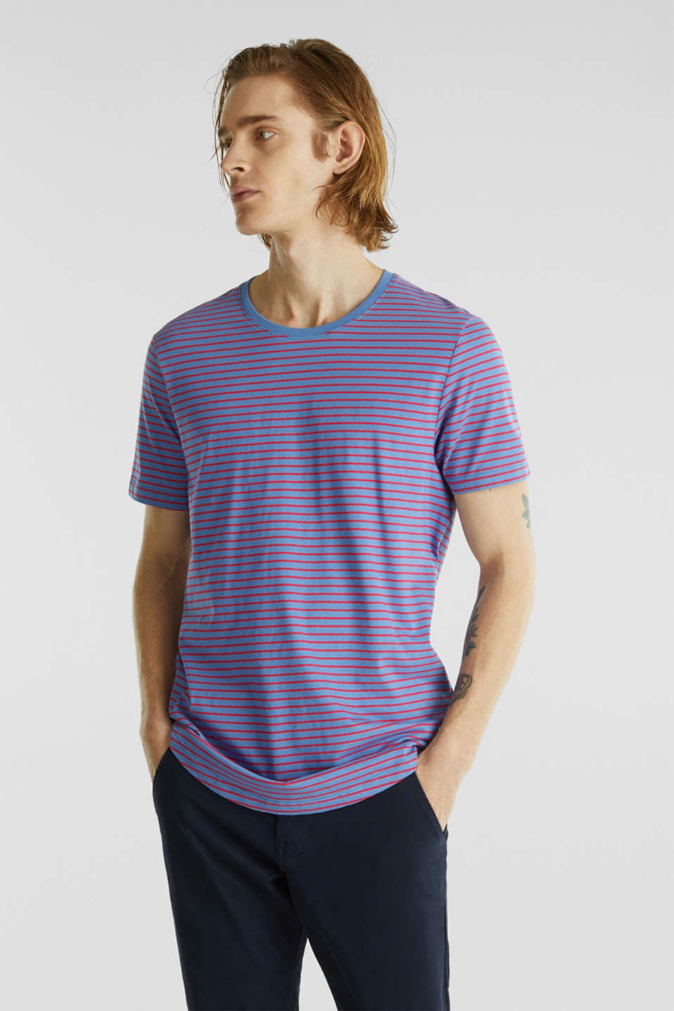 Jersey T-shirt with stripes, 100% cotton, LIGHT BLUE 3, detail image number 0