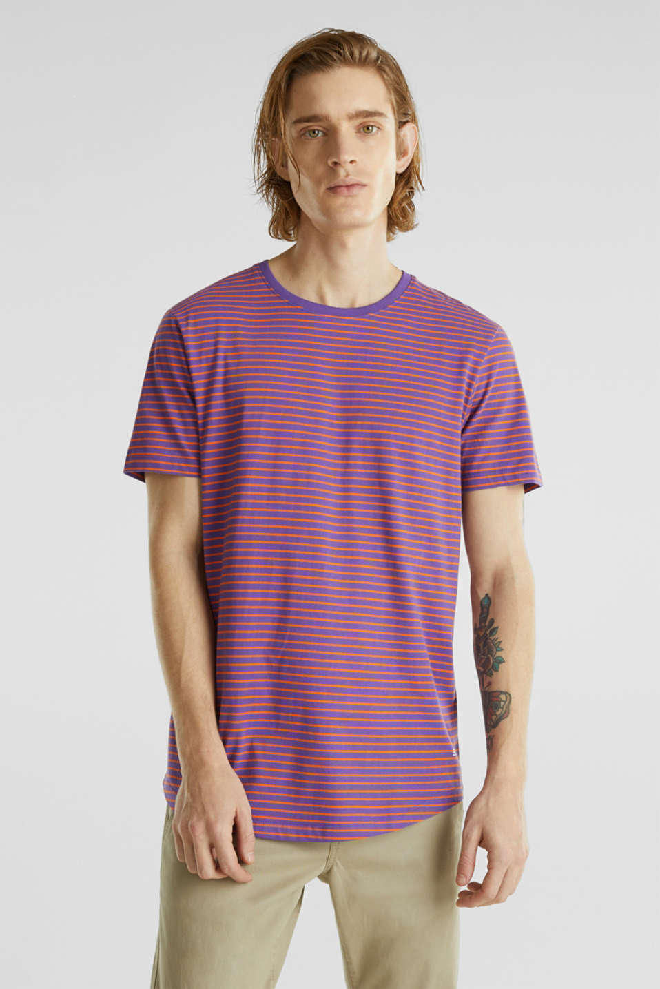 Jersey T-shirt with stripes, 100% cotton, PURPLE 3, detail image number 0