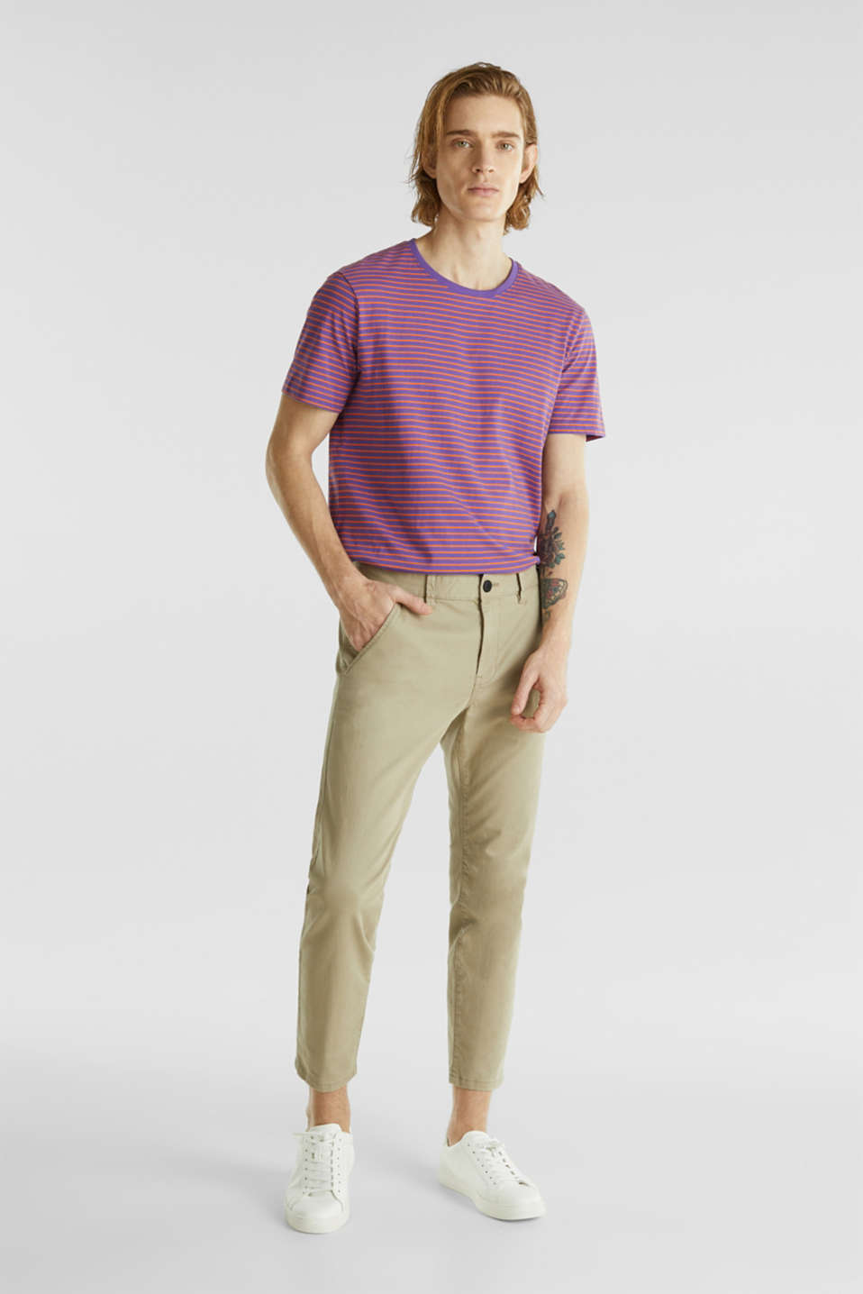 Jersey T-shirt with stripes, 100% cotton, PURPLE 3, detail image number 2