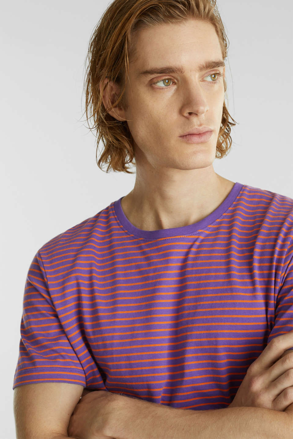 Jersey T-shirt with stripes, 100% cotton, PURPLE 3, detail image number 1