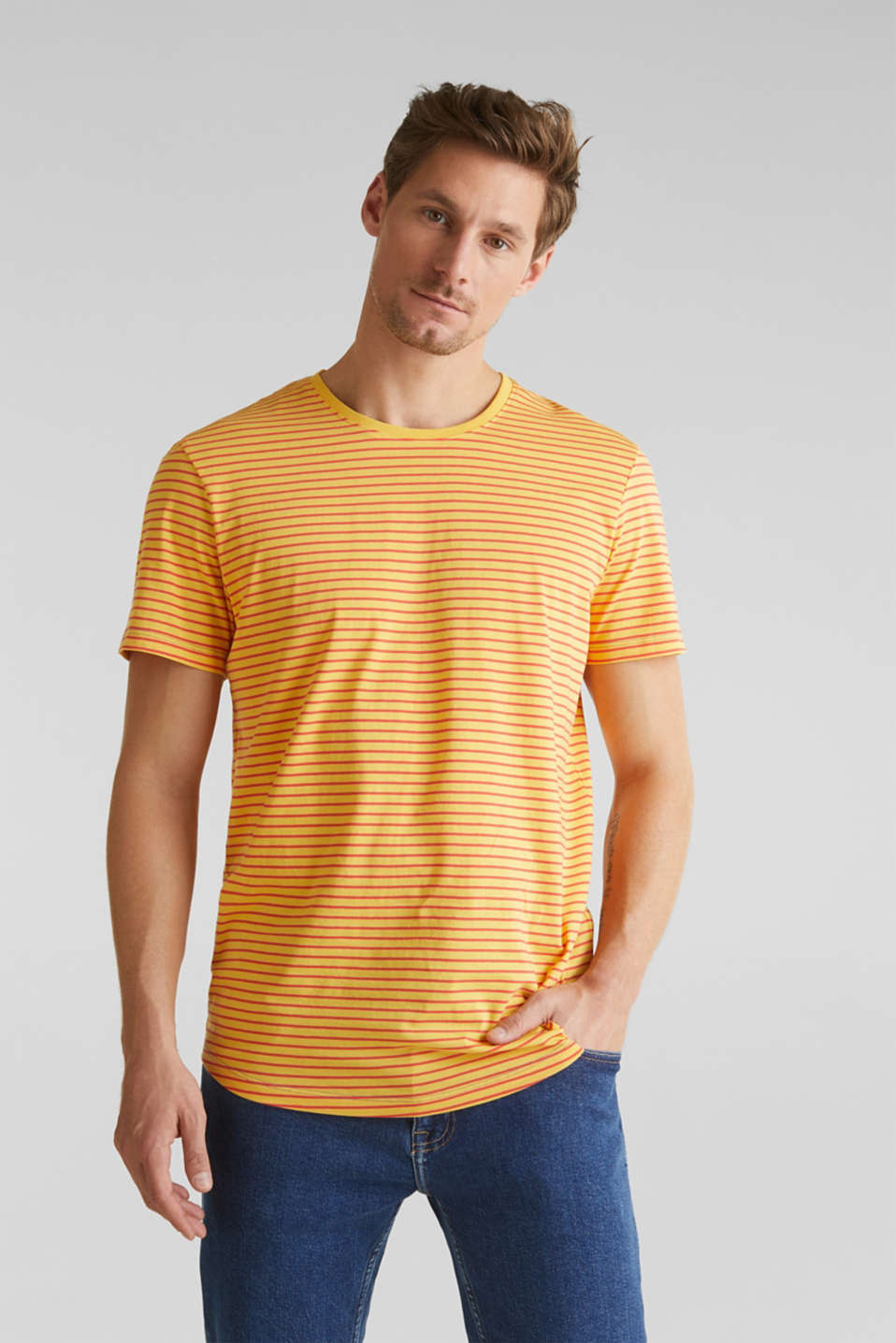 Jersey T-shirt with stripes, 100% cotton, BRASS YELLOW 3, detail image number 0