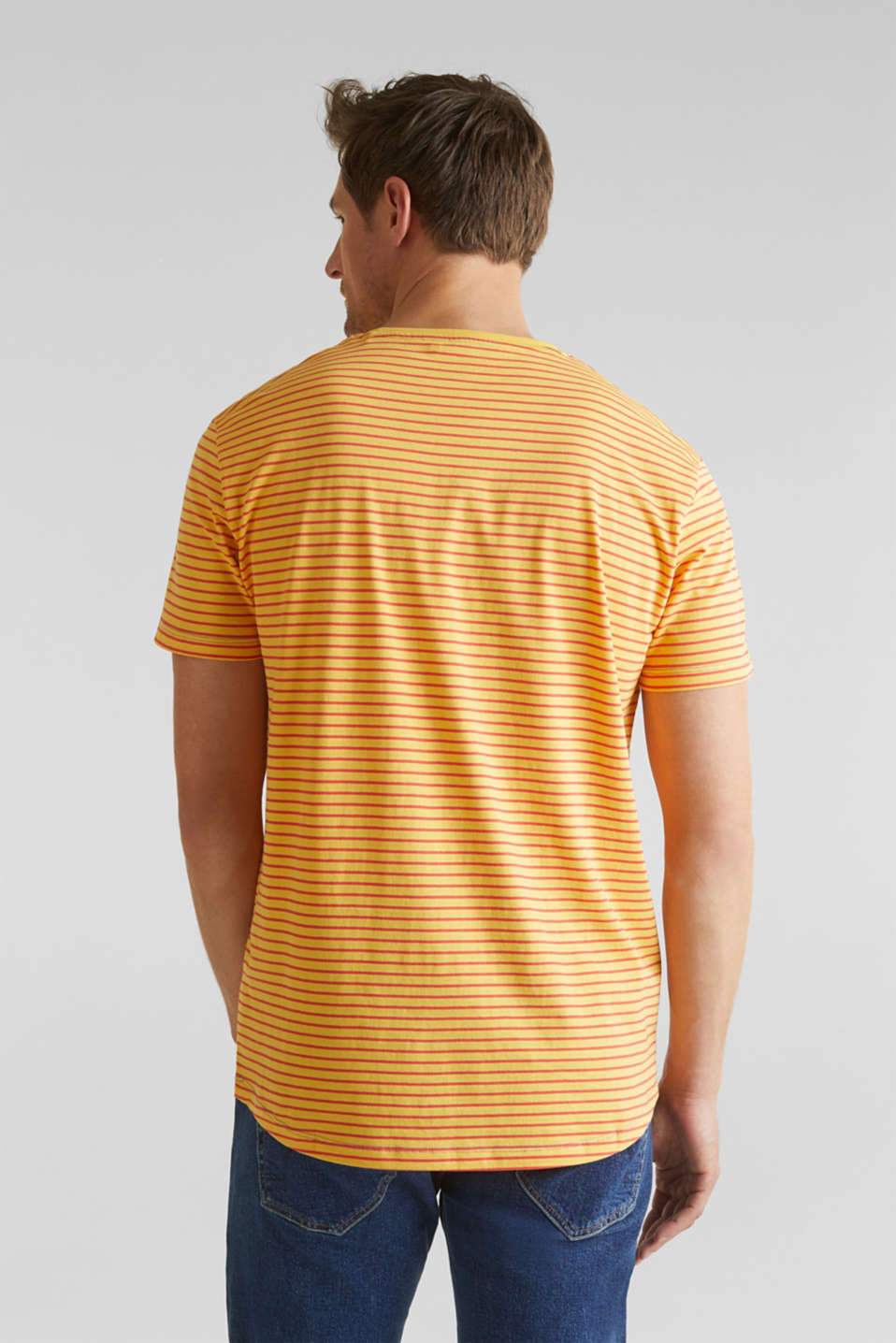 Jersey T-shirt with stripes, 100% cotton, BRASS YELLOW 3, detail image number 3