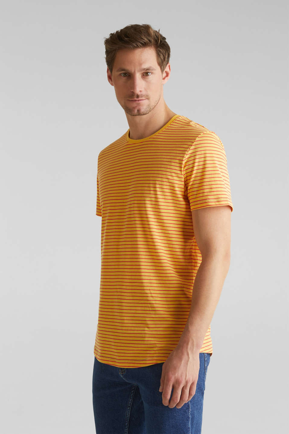 Jersey T-shirt with stripes, 100% cotton, BRASS YELLOW 3, detail image number 4
