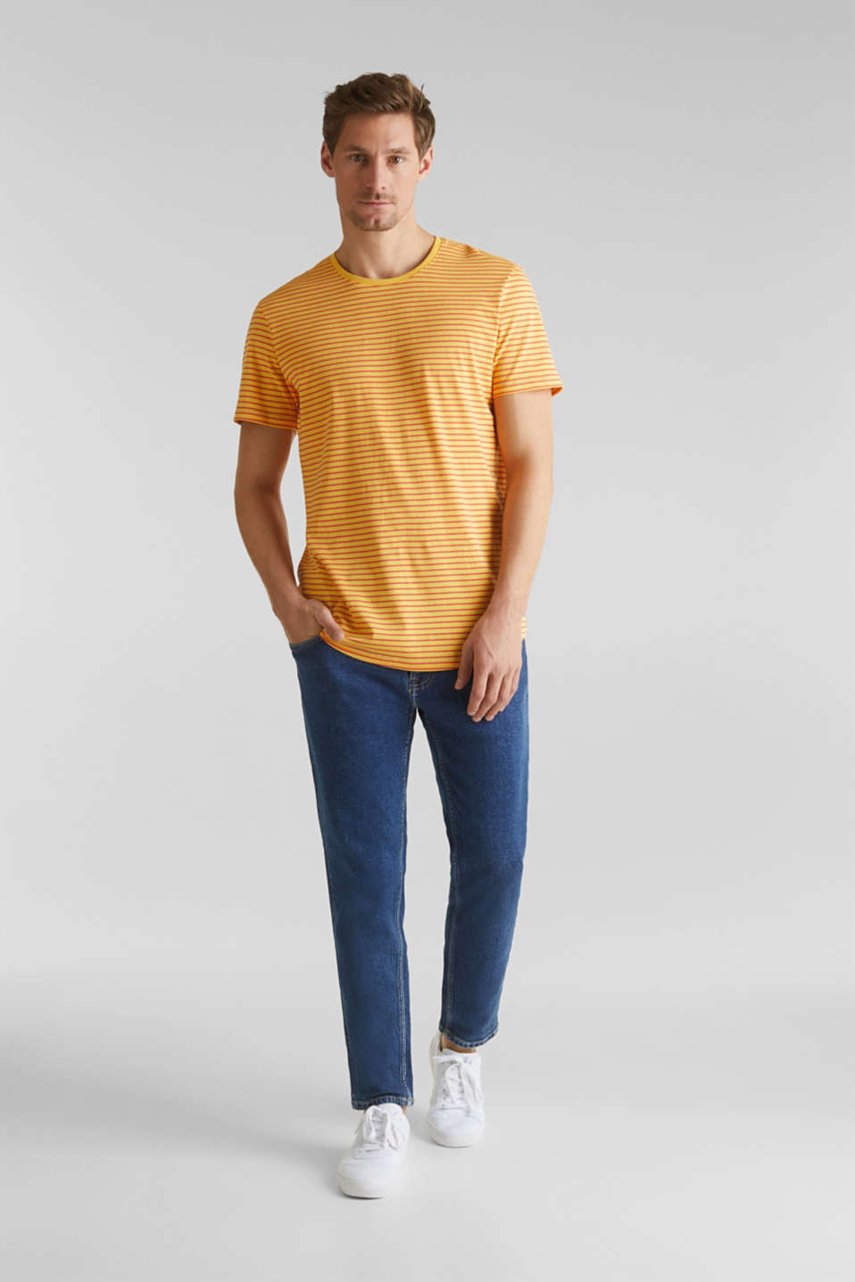 Jersey T-shirt with stripes, 100% cotton, BRASS YELLOW 3, detail image number 7