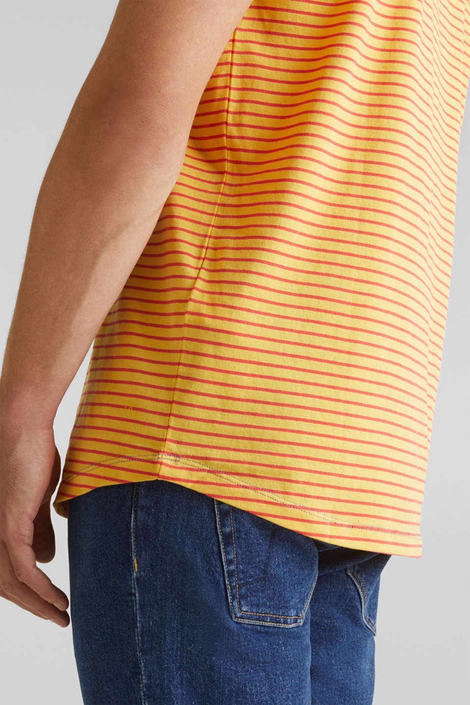 Jersey T-shirt with stripes, 100% cotton, BRASS YELLOW 3, detail image number 6