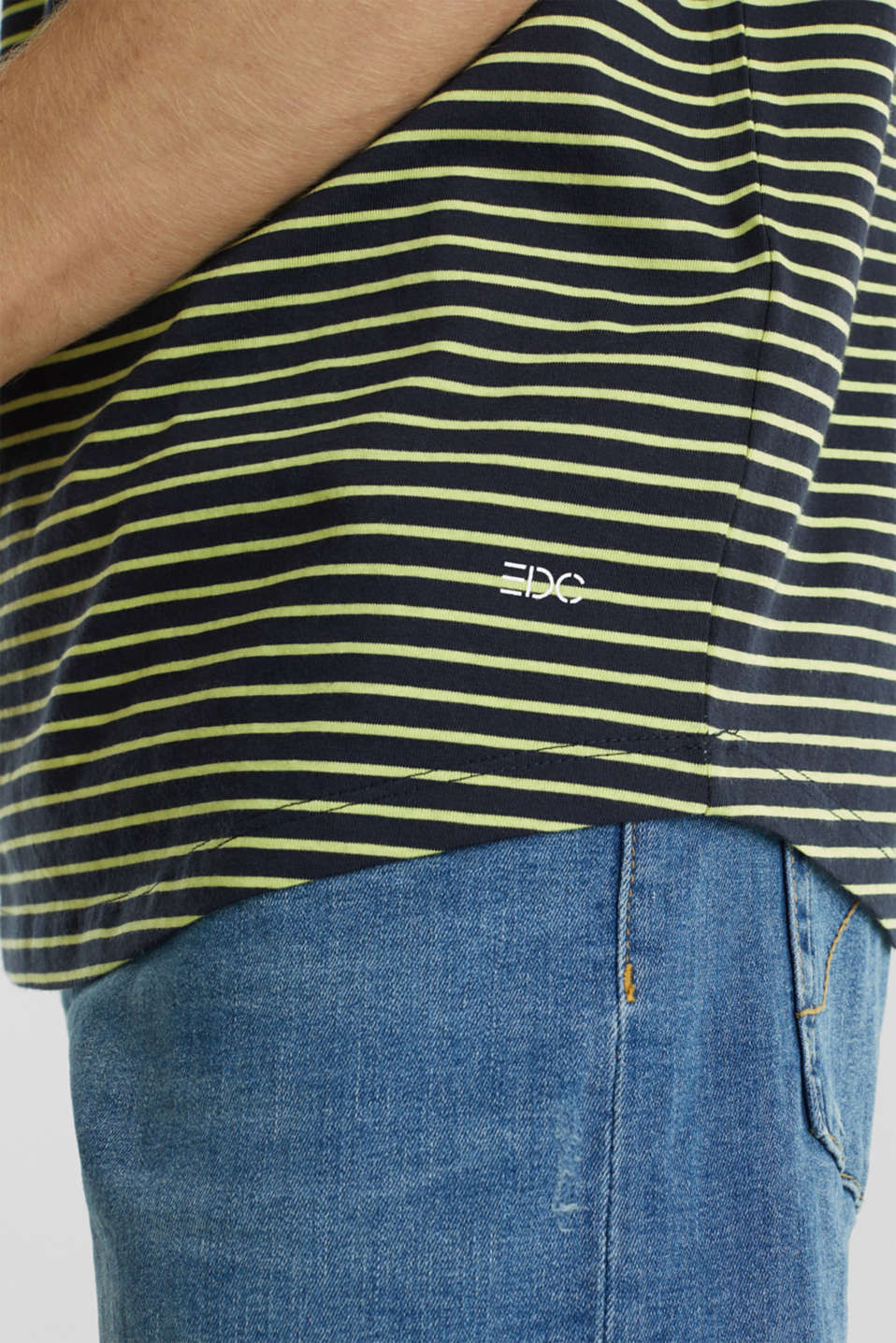 Jersey T-shirt with stripes, 100% cotton, BRIGHT YELLOW 3, detail image number 5
