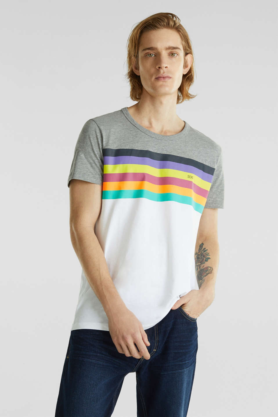 Jersey T-shirt with rainbow stripes, WHITE 2, detail image number 0
