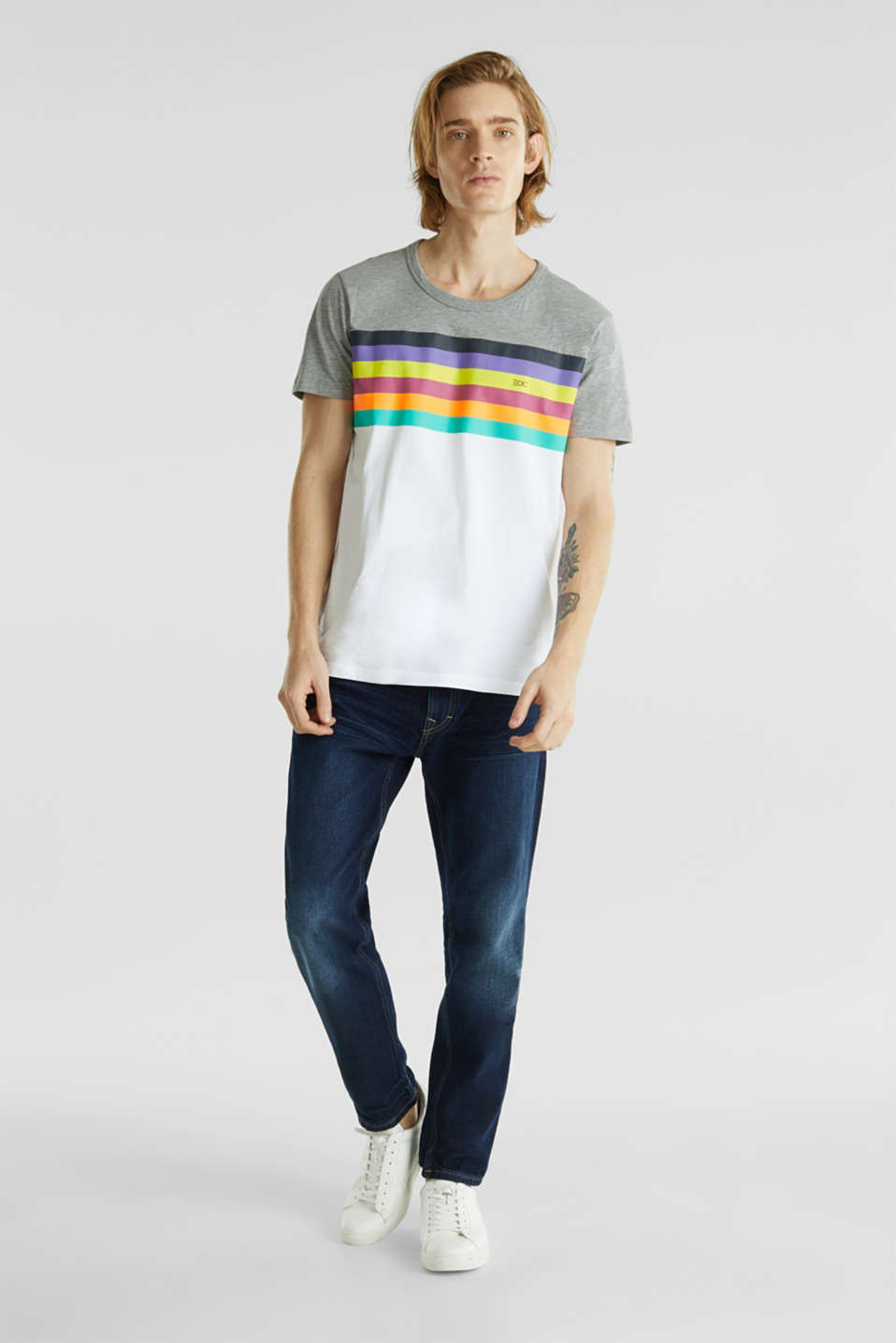 Jersey T-shirt with rainbow stripes, WHITE 2, detail image number 3