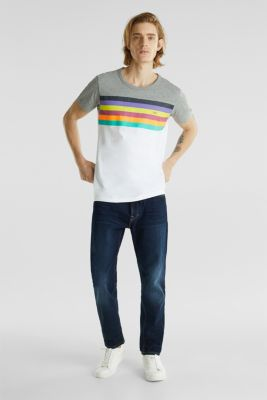 Jersey T-shirt with rainbow stripes, WHITE 2, detail