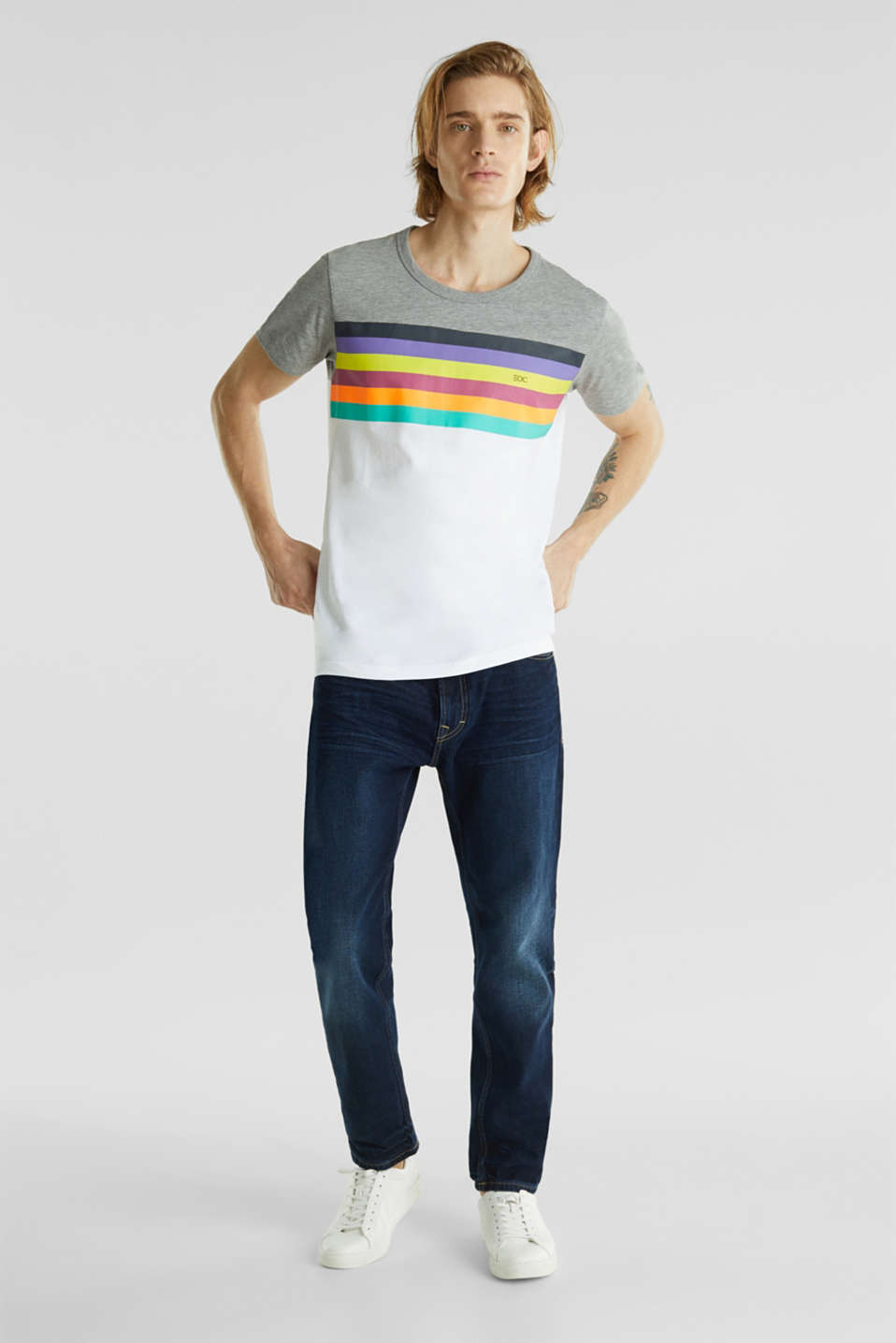 Jersey T-shirt with rainbow stripes, WHITE 2, detail image number 2