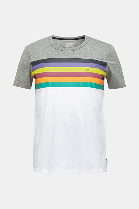 Jersey T-shirt with rainbow stripes