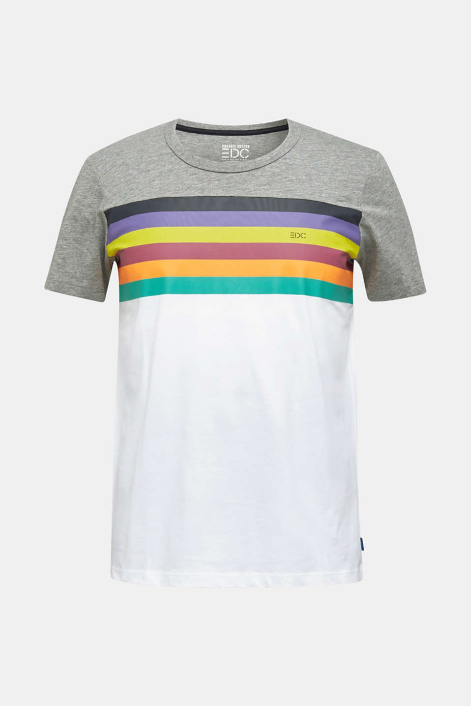Jersey T-shirt with rainbow stripes, WHITE 2, detail image number 6