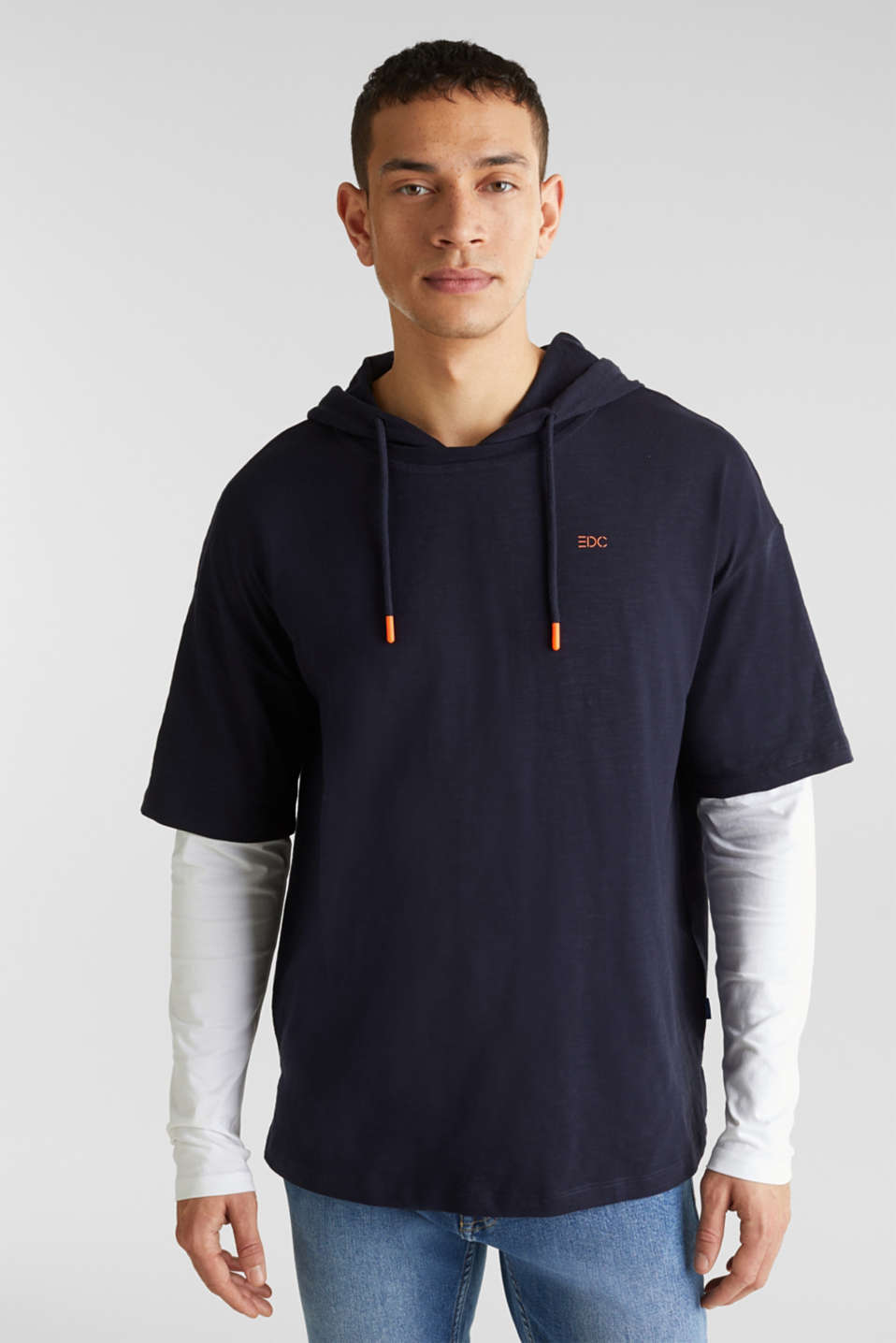 Layered jersey top with a hood, 100% cotton, NAVY 2, detail image number 0