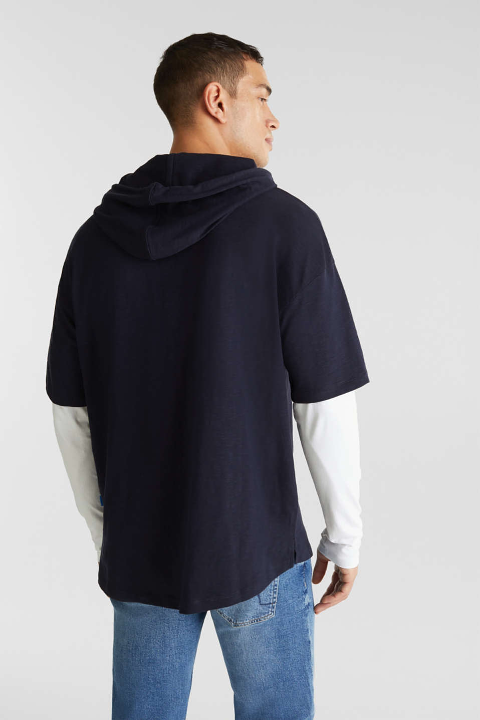 Layered jersey top with a hood, 100% cotton, NAVY 2, detail image number 3
