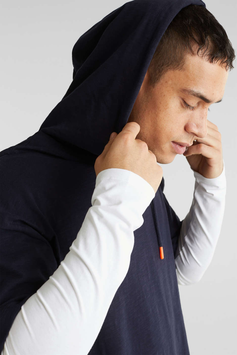 Layered jersey top with a hood, 100% cotton, NAVY 2, detail image number 6