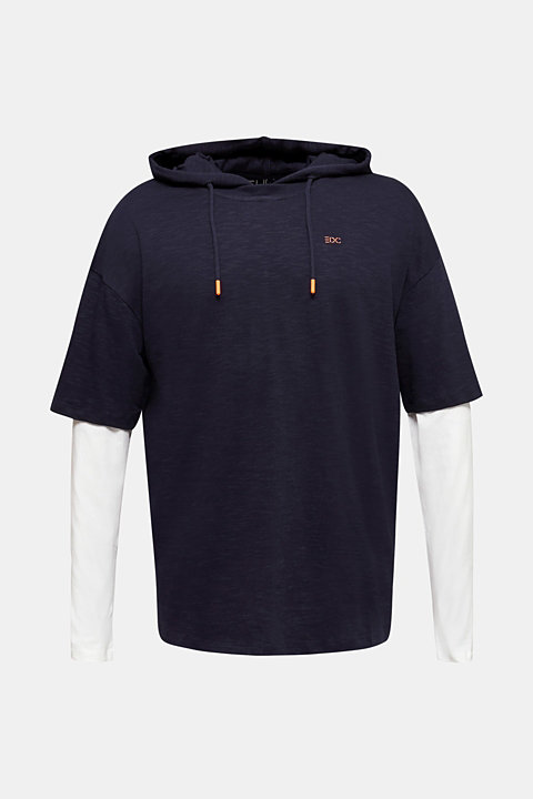 Layered jersey top with a hood, 100% cotton